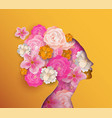 papercut woman with pink spring flowers vector image