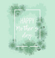 pastel green floral background for mothers day vector image