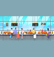 people in airport travelers with baggage vector image vector image