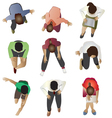 People sitting top view set 3 vector image vector image