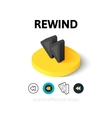 Rewind icon in different style vector image