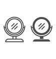 round makeup mirror line and glyph icon desk vector image