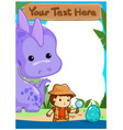 science kids camping with dinosaur poster vector image