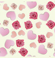 seamless pattern of hand drawn roses and hearts vector image