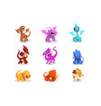 set colorful dragons in flat style cartoon vector image