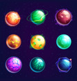 set isolated cartoon planets with satellites vector image vector image