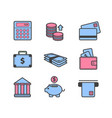 set of payment money icons isolated vector image