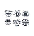sport college club logo design set vintage vector image