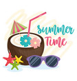 summer time poster with holiday icons vector image vector image