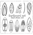 surfboard hand drawn doodle set isolated elements vector image