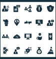 teamwork icons set with team location protection vector image