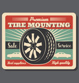 tire mounting service car and wheel icons vector image