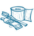 toilet paper toothbrush and toothpaste hygiene vector image