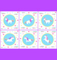 unicorn set of creatures with drawn icons vector image vector image