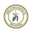 Vanilla essential oil label aromatic plant