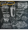 food - hand drawings on blackboard pack vector image