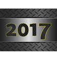 2017 on metallic diamond over brushed metal panel vector image vector image