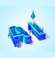 3d neon ai isometric letter and scientist people vector image