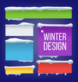 banner button with snow caps new year vector image