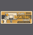 basketball player and basket sport court vector image vector image