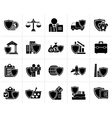 Black Business and industrial insurance icons vector image vector image