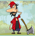 cartoon surprised the woodcutter next to the axe vector image