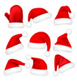 christmas santa claus hats with fur set mitten vector image vector image