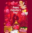 couple with hearts and cupid valentines day vector image