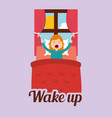 cute girl wakes up in the morning vector image vector image