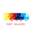 delivery truck logo fast delivery service vector image vector image