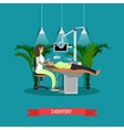 Dentist works with patient poster Dental vector image vector image