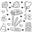 doodle of candy various collection vector image vector image