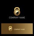 eco leaf fitness barbel gold logo vector image