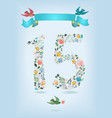 floral number fifteen with ribbon and birds vector image vector image