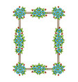 flowers color rectangle frame vector image vector image