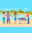 friends on bbq party flat vector image