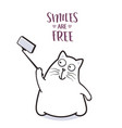 funny cat taking selfie for greeting card design vector image vector image