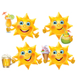 Funny sun with cool drinks and desserts vector image vector image