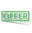 Green outlined OFFER stamp vector image