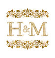 h and m vintage initials logo symbol vector image