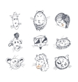 Hand drawn cat icons vector image vector image