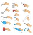 hands with kitchen utensils vector image