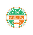 happy st patrick day banner badge in green vector image