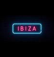ibiza neon sign bright light signboard banner vector image vector image