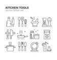 kitchen linear icons vector image