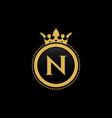 letter n royal crown luxury logo design vector image vector image