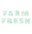 lettering farm fresh pattern logo groceries vector image vector image