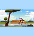man with smartphone sitting on bench in city park vector image