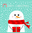 merry christmas snowman holding gift box present vector image vector image