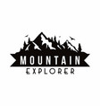 mountain explorer adventure black and white badge vector image vector image